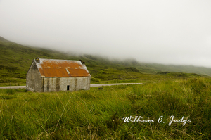 abandoned, crofter, derelict, fog, highland, isle, loch, loch broom, meadow, ruins, scotland, tin ro