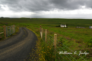 crofter, fence, field, flowers, highlands, isle, meadows, ominous clouds, path, road, scene, scotlan